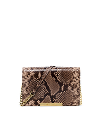 Lana Embossed-Leather Clutch - DARK KHAKI - 32T5GKYW2N
