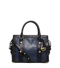 Collins Stud Medium Two-Tone Leather Satchel - NAVY/BLACK - 30F5GCVS2T