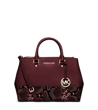 Sutton Medium Embossed-Leather Satchel - MERLOT - 30F5GSUS8E