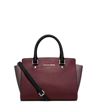 Selma Medium Color-Block Leather Satchel - MERLOT/CINN/BLACK - 30F5SLMS2T