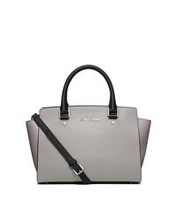 Selma Medium Color-Block Leather Satchel - STGREY/PGREY/BL - 30F5SLMS2T