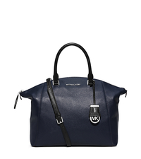 Riley Large Two-Tone Leather Satchel - NAVY/BLACK - 30F5SRLS3T