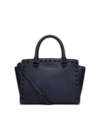 Selma Medium Studded Leather Satchel - NAVY - 30F5TSMS2L