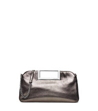 Berkley Large Metallic Leather Clutch - GUNMETAL - 30S5MBKC3M