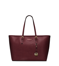 Jet Set Travel Saffiano Leather Top-Zip Tote - MERLOT - 30T5GTVT2L