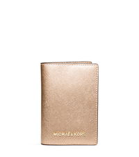 Jet Set Travel Metallic Saffiano Leather Passport Case - PALE GOLD - 32F5MTVT3M