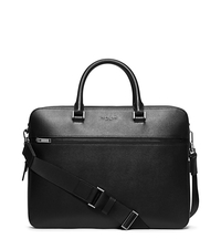 Harrison Large Leather Briefcase - BLACK - 33F5LHRA3L