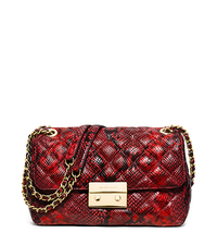 Sloan Large Quilted Embossed-Leather Shoulder Bag - RED - 30H5GSLL3N