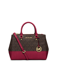 Sutton Medium Satchel - BROWN/CHERRY - 30H5GSUS6B