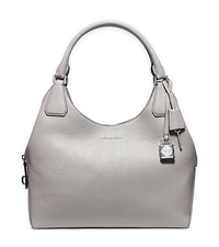 Camille Large Leather Shoulder Bag - PEARL GREY - 30H5SCAE3L