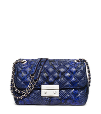 Sloan Large Embossed-Leather Shoulder Bag - ELECTRIC BLUE - 30H5SSLL3N