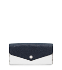 Greenwich Saffiano Leather Wallet - NAVY/WHITE - 32H5SGRE2U
