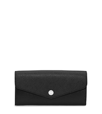 Greenwich Saffiano Leather Wallet - BLACK/FUCHSIA - 32H5SGRE2U