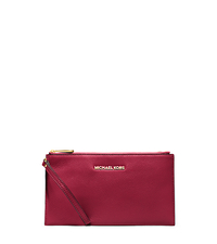 Bedford Large Leather Zip Wristlet - CHERRY - 32T4GBFW7L