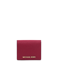 Jet Set Travel Saffiano Leather Card Holder - CHERRY - 32T4GTVF2L