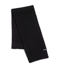 Ribbed Cashmere Scarf - BLACK - MH50B36UJ5